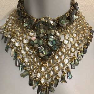 Vintage Abalone Shell Statement gold Tone Necklace